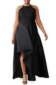 Black Sculptural Gown by Badgley Mischka