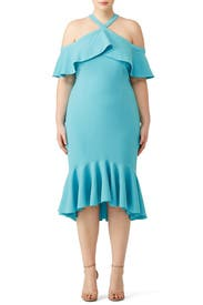 Blue Cold Shoulder Ruffle Dress by Christian Siriano