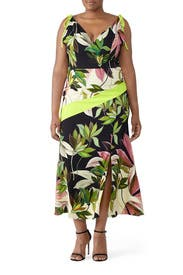Hawaiian Print Tie Strap Dress by Christian Siriano