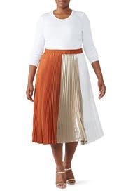 Color Block Pleated Skirt by Clu