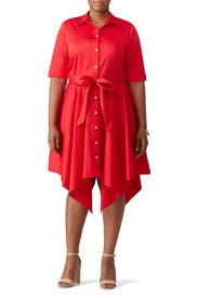 Crimson Red Shirtdress by Badgley Mischka