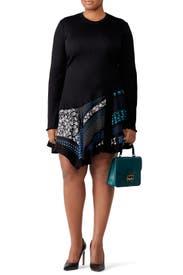 Knit Scarf Print Hem Dress by Derek Lam 10 Crosby
