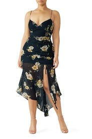 Navy Floral Drawstring Dress by Nicholas