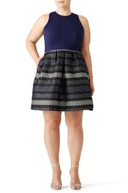 Metallic Navy Geo Dress by Hutch