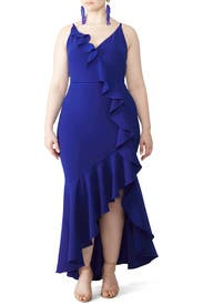 Royal Blue Ruffle Gown by Marchesa Notte