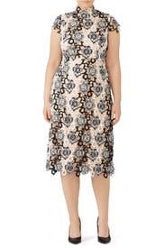Black and White Floral Lace Dress by ML Monique Lhuillier