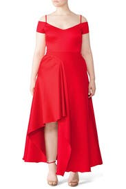 Red Asymmetrical Gown by Badgley Mischka