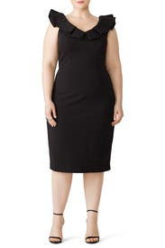 Black Ruffle Neck Sheath by JS Collection
