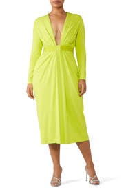 Lime Plunge Dress by Cushnie