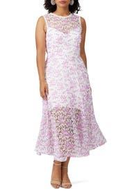 Floral Sheer Hem Dress by ML Monique Lhuillier