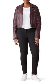 Raisin Ribbed Biker Leather Jacket by Samantha Sipos