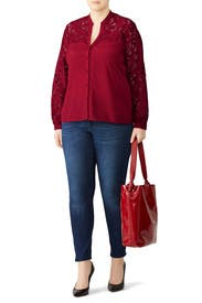 Ruby Lace Button Down by Badgley Mischka