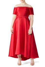Off Shoulder Mikado Gown by ML Monique Lhuillier