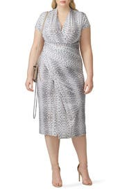 Python Printed Faux Wrap Dress by Great Jones