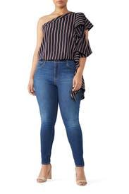 Stripe One Shoulder Blouse by Great Jones