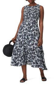 Painted Flowers Midi Dress by Nicole Miller