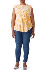 Tropic Orange Rouched Top by Genny