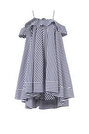 Blue Stripped Ruffle Dress by MSGM