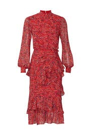 Printed Isa Ruffle Dress by SALONI