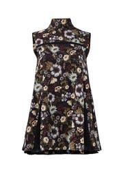 Black Floral Godet Top by ADEAM