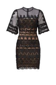Black Lace Trim Dress by Nicole Miller
