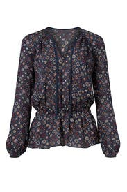 Blue Geo Printed Tie Top by Derek Lam 10 Crosby