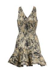 Gold Foil Printed Dress by Josie by Natori
