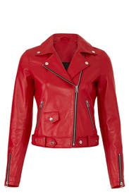 Red Leather Moto Jacket by Slate & Willow