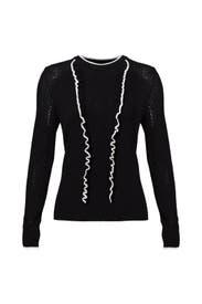 Black Nia Ruffle Sweater by Shoshanna