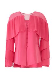 Pink Pleated Sleeve Blouse by Prabal Gurung Collective