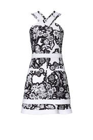 White Floral Printed Buckle Dress by Carven