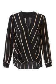 Striped Faux Wrap Top by Slate & Willow