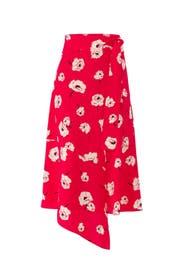 Red Floral Wrap Skirt by Derek Lam 10 Crosby