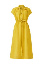 Yellow Drawstring Shirtdress by Co