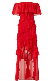 Red Off Shoulder Ruffle Gown by Badgley Mischka