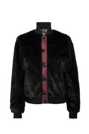 Qulited Trim Faux Fur Bomber by Hunter