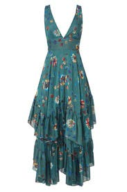 Green Floral Ruffle Dress by Free People