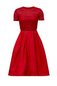 Red Contrast Top Ballerina Dress  by ML Monique Lhuillier