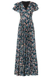 Floral Printed Ruffle Gown by ML Monique Lhuillier