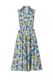 Light Blue Peony Printed Midi Dress by PINKO