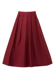 Red Silk Faille Full Skirt by Tibi