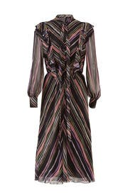 Black Stripe Ruffle Dress by Giamba