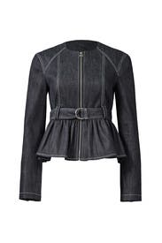 Denim Peplum Belted Jacket by Derek Lam 10 Crosby