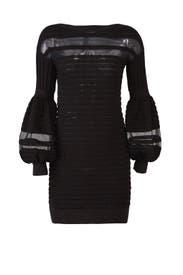 Black Panel Knit Dress by Emanuel Ungaro
