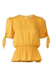 Yellow Tie Sleeve Blouse by Slate & Willow