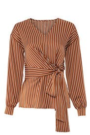 Yuna Striped Wrap Tie Top by Greylin