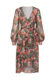 Multi Floral Wrap Dress by Badgley Mischka