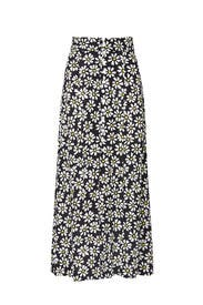 Floral Front Slit Midi Skirt by Fifteen Twenty