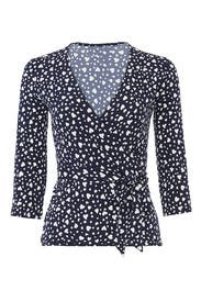 Heart Printed Perfect Wrap Top by Leota