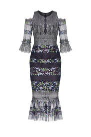 Navy Metallic Dress by Marchesa Notte